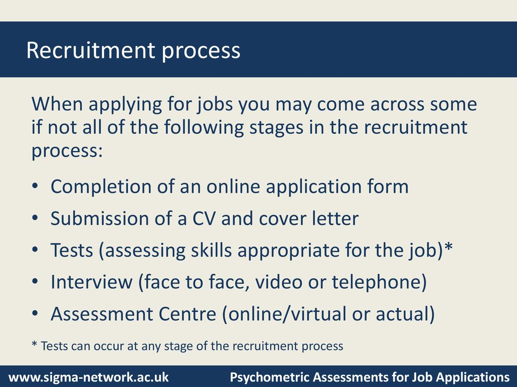 Psychometric Assessments for Job Applications - ppt download