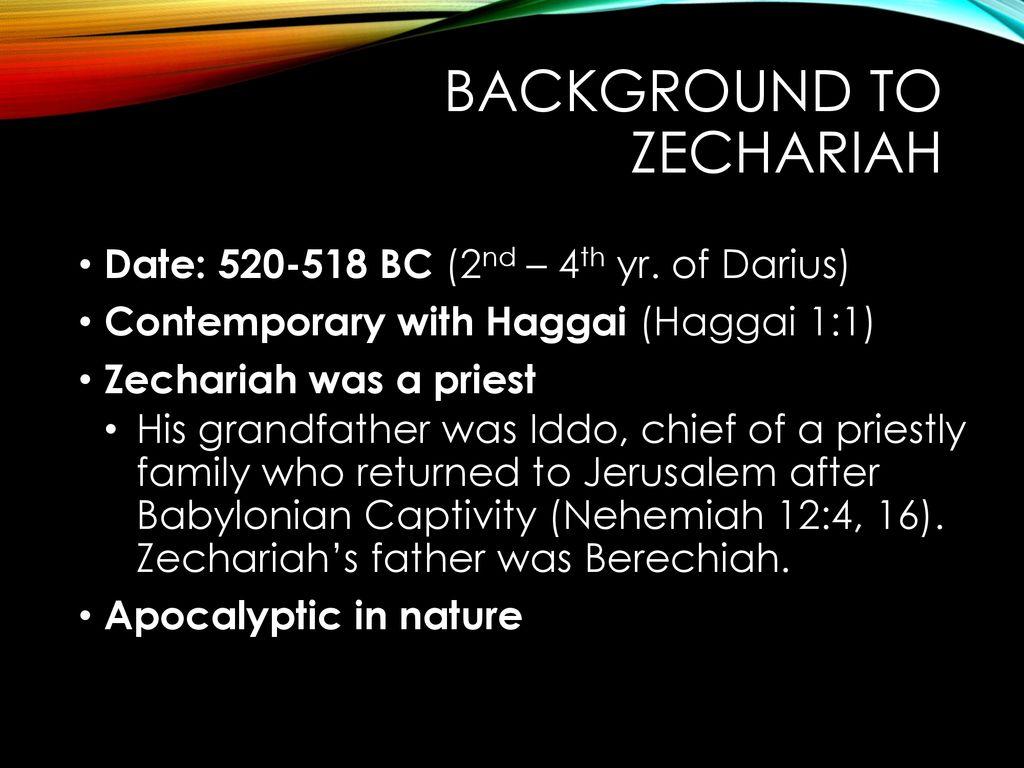 Dating of zechariah