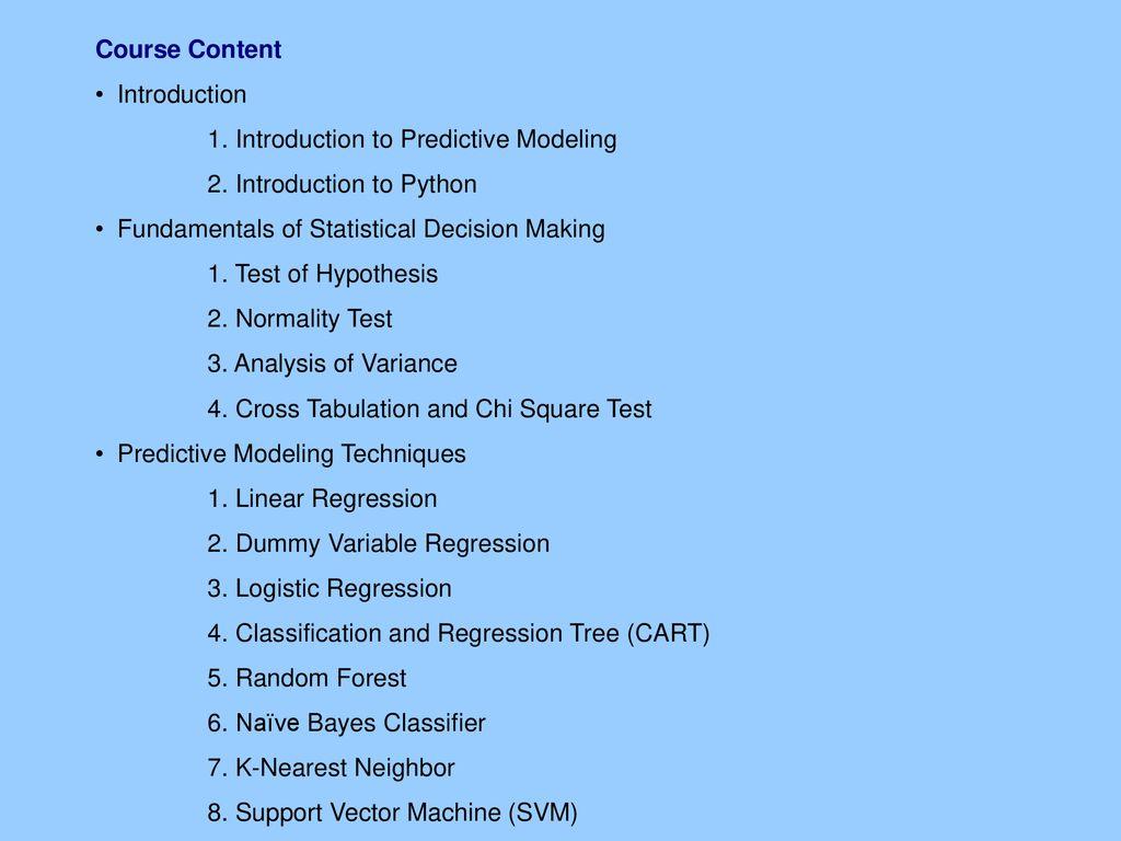 Predictive Modeling using Python - ppt download