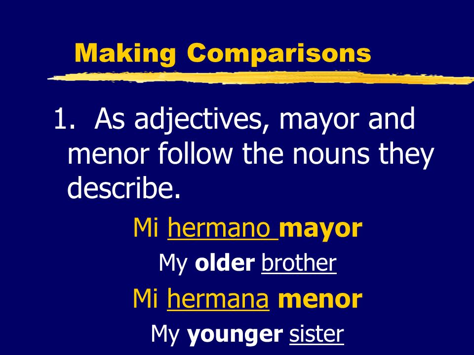 1. As adjectives, mayor and menor follow the nouns they describe.