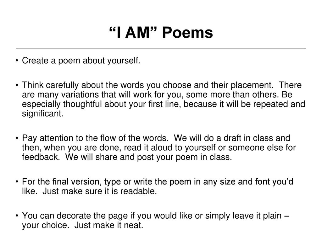 I Am Poems Create A Poem About Yourself Ppt Download