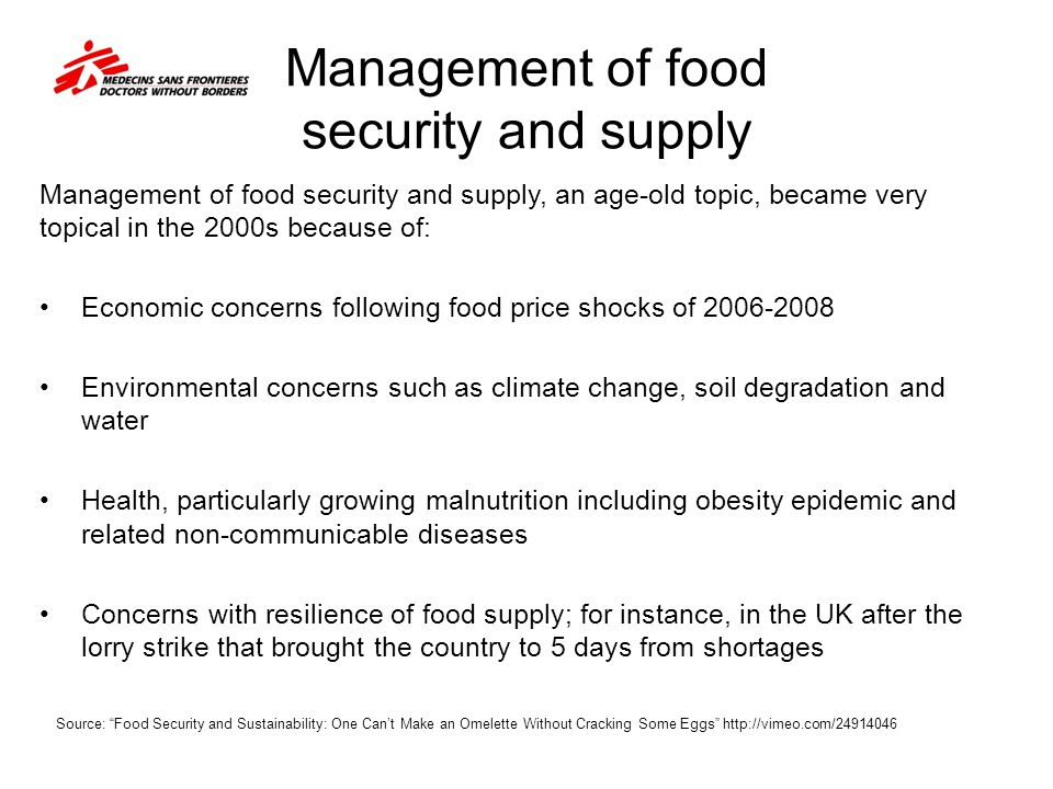 management of food security and supply