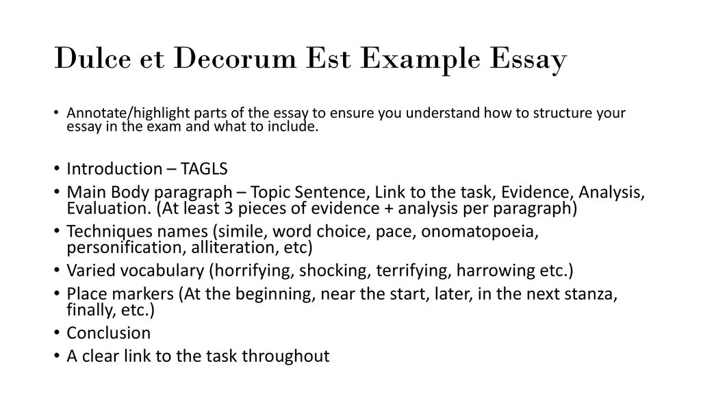 Cause And Effect Essay Topics For High School Dulce Et Decorum Est Example Essay Essays About High School also Essay About Healthy Diet Dulce Et Decorum Est By Wilfred Owen  Ppt Download How To Write A Good Proposal Essay