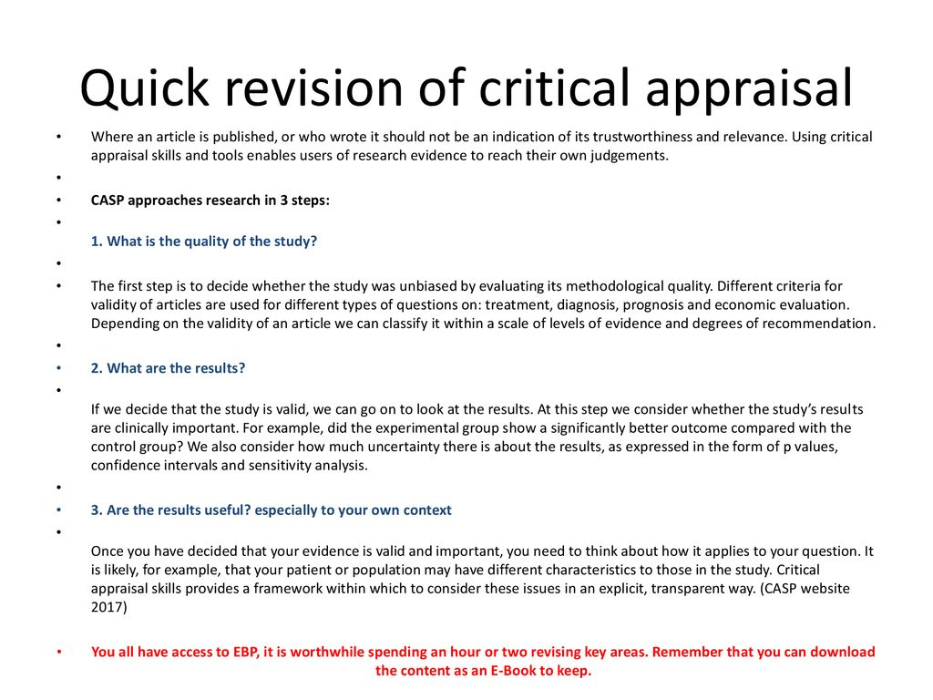 critical appraisal assignment examples