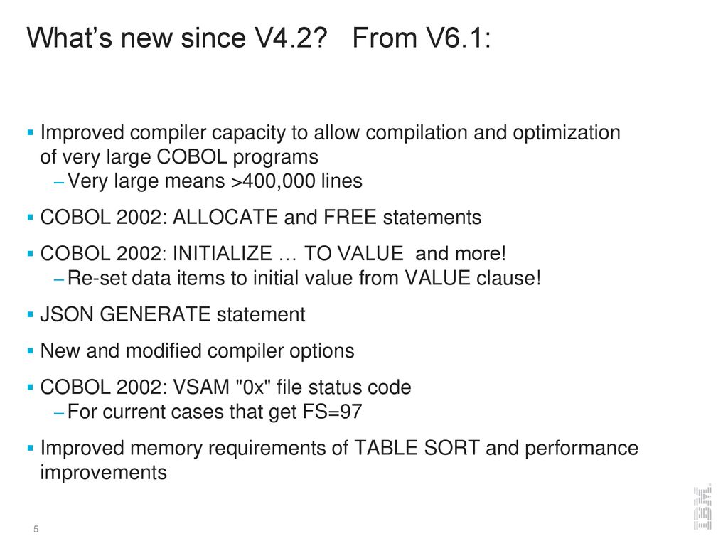 What's new in COBOL for z/OS since V ppt download