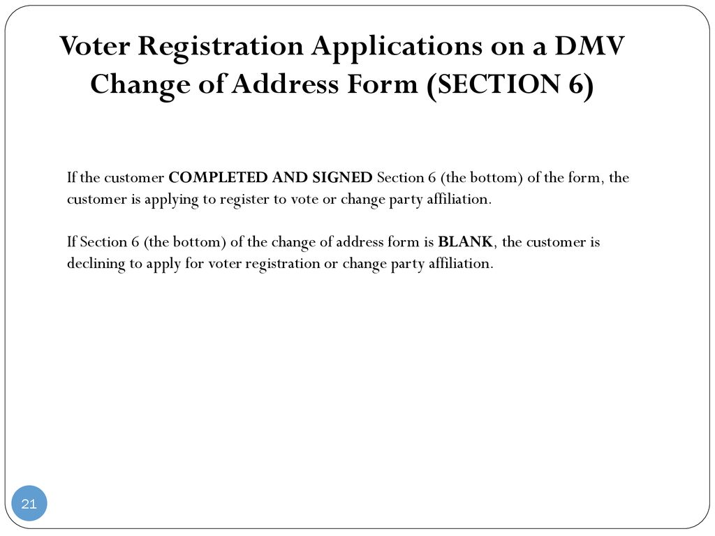 Dmv Change Of Address Form | Connecticut Dmv Motor Voter Process Ppt Download