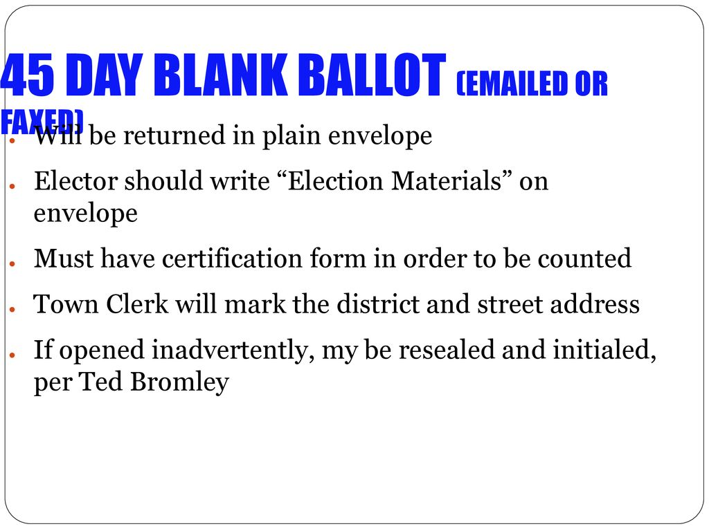 The Absentee Ballot Process for the Presidential Primary and beyond