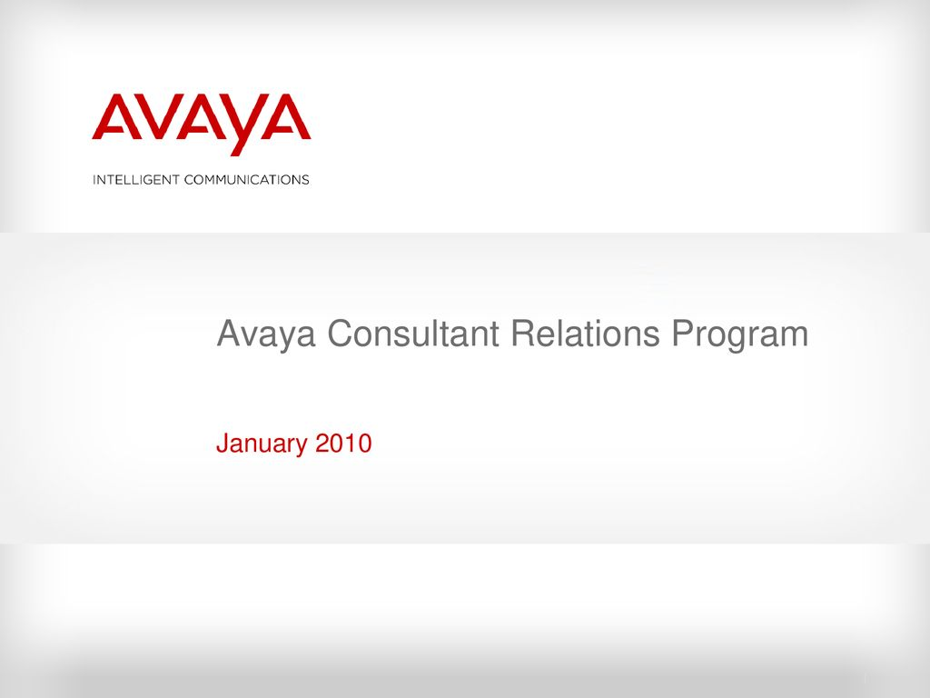 Avaya Consultant Relations Program