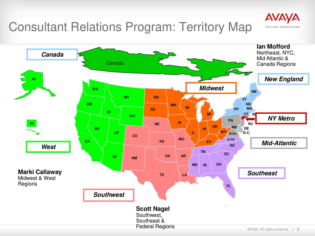 Consultant Relations Program: Territory Map