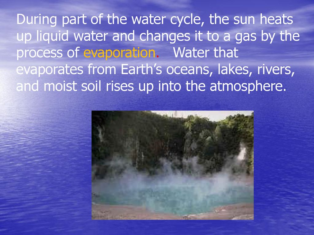 During part of the water cycle, the sun heats up liquid water and changes it to a gas by the process of evaporation.