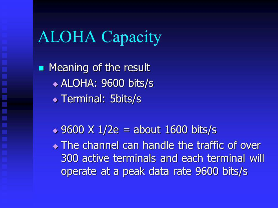 ALOHA Capacity Meaning of the result ALOHA: 9600 bits/s