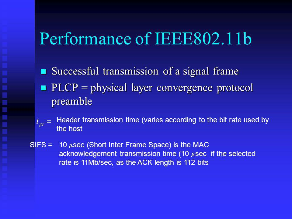 Performance of IEEE802.11b Successful transmission of a signal frame