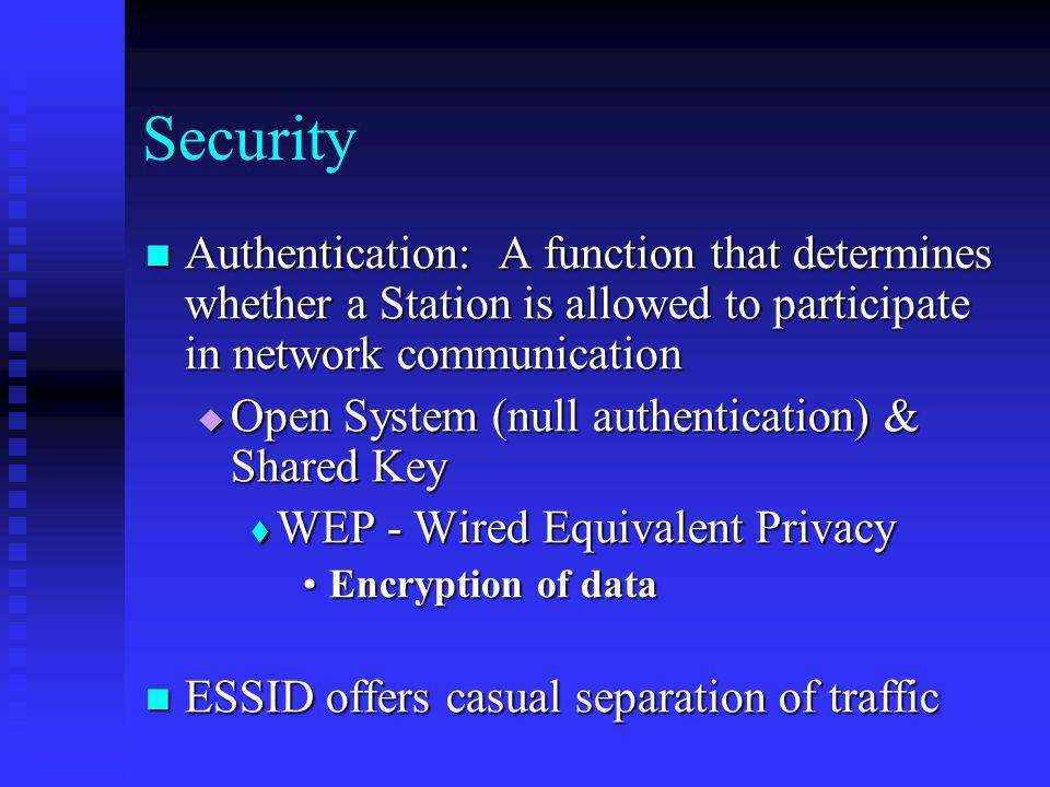 Security Authentication: A function that determines whether a Station is allowed to participate in network communication.