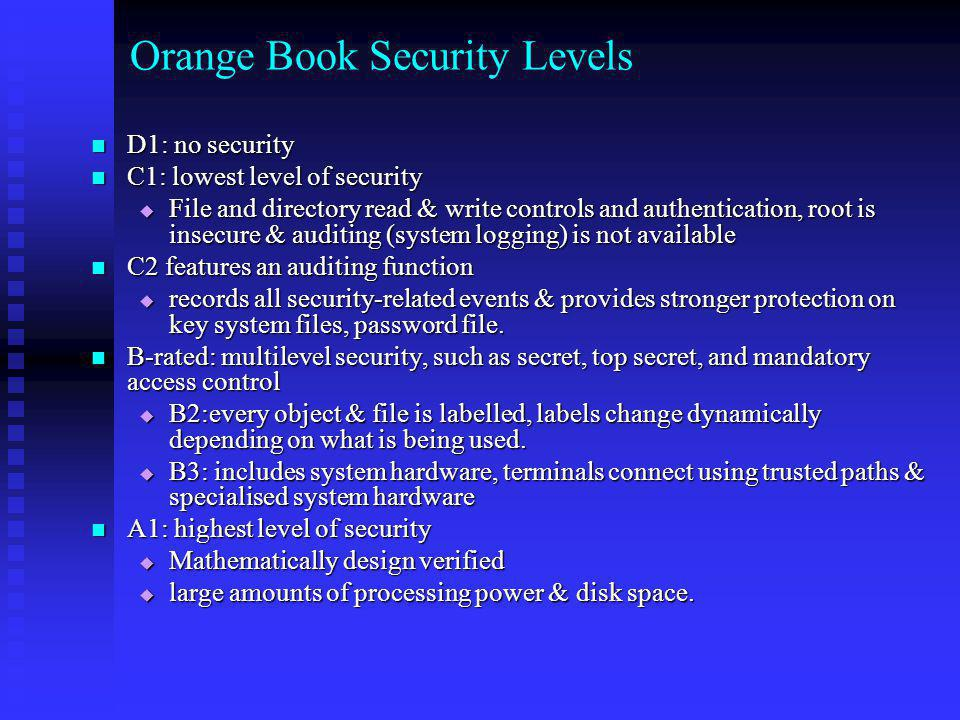 Orange Book Security Levels