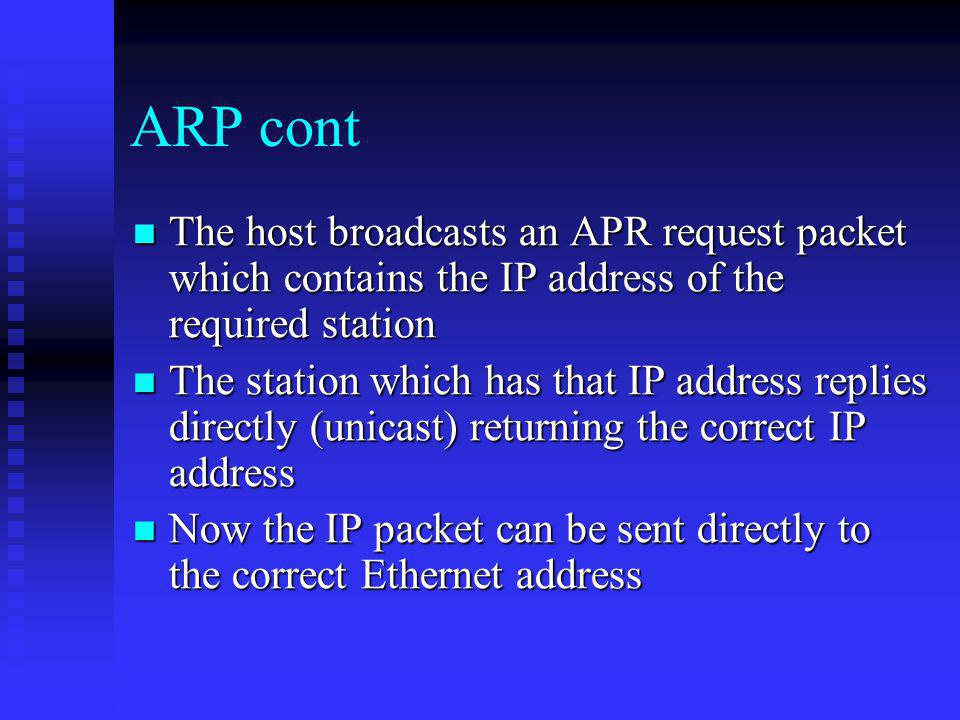 ARP cont The host broadcasts an APR request packet which contains the IP address of the required station.