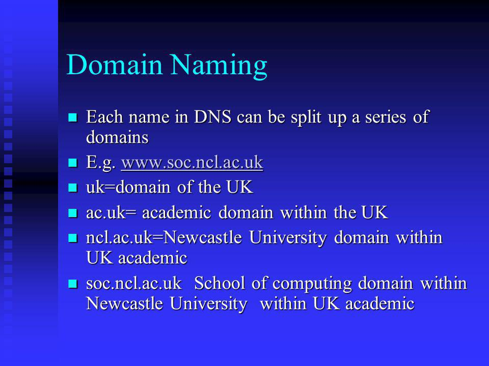 Domain Naming Each name in DNS can be split up a series of domains
