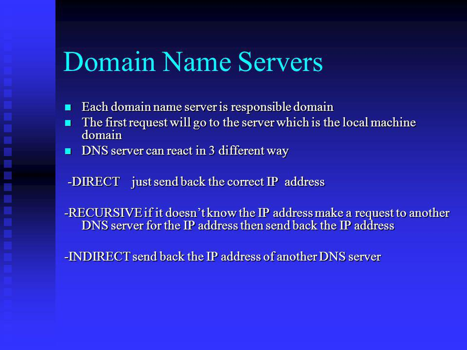 Domain Name Servers Each domain name server is responsible domain