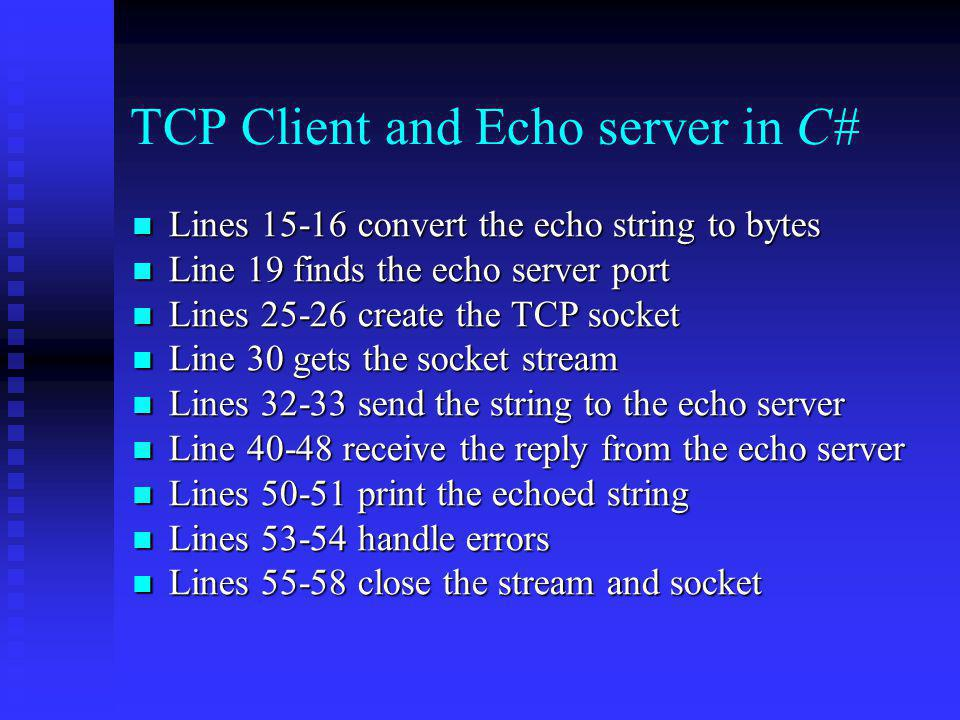 TCP Client and Echo server in C#