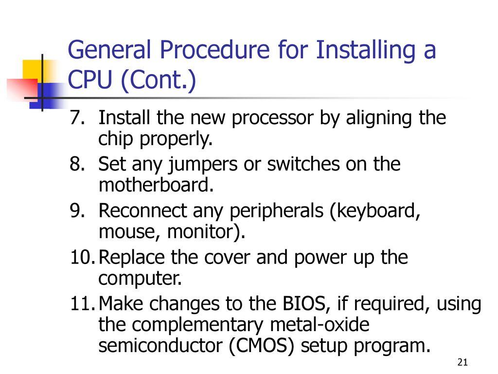 procedure of installing a processor