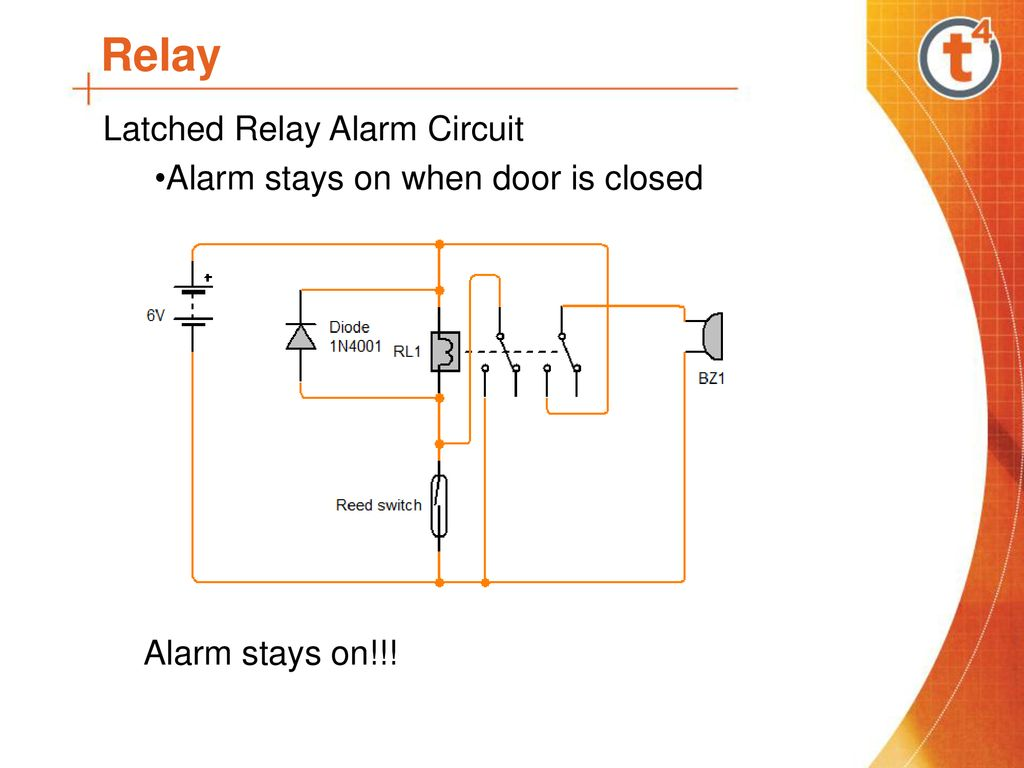 11 relay latched relay alarm circuit alarm stays on when door is closed