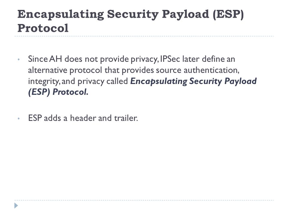 Encapsulating Security Payload (ESP) Protocol