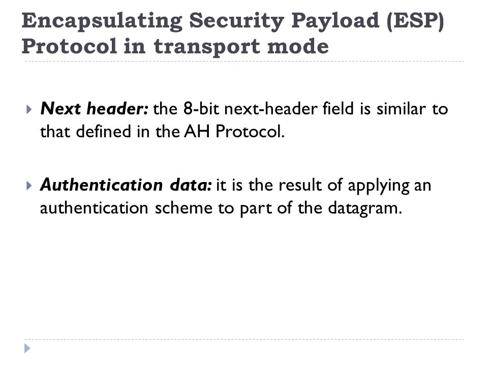 Encapsulating Security Payload (ESP) Protocol in transport mode