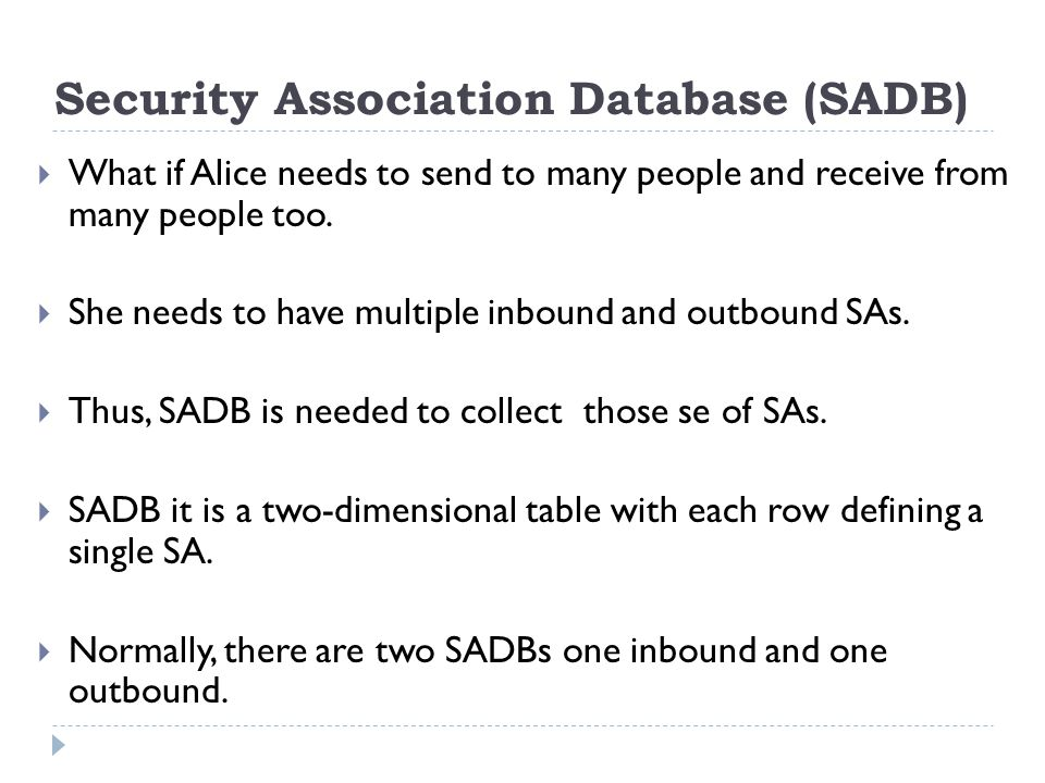 Security Association Database (SADB)