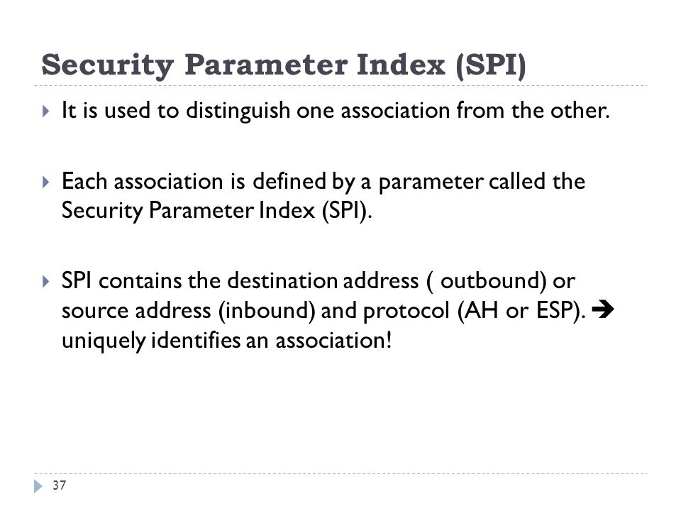 Security Parameter Index (SPI)