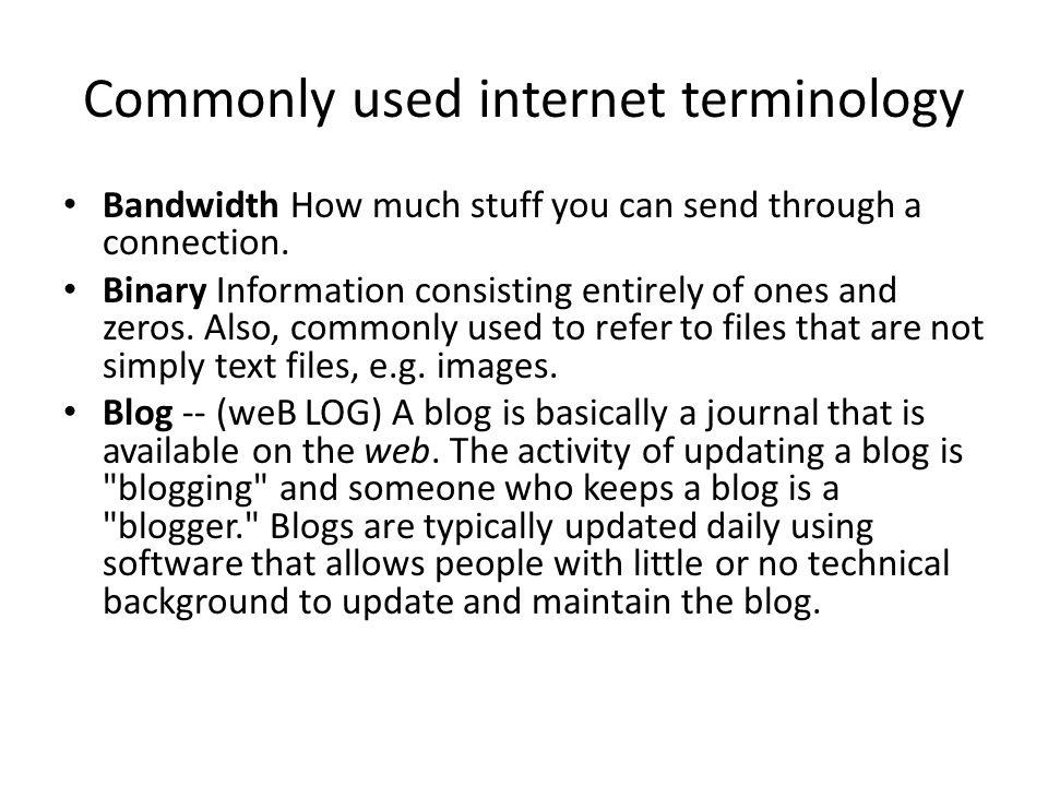 Commonly used internet terminology