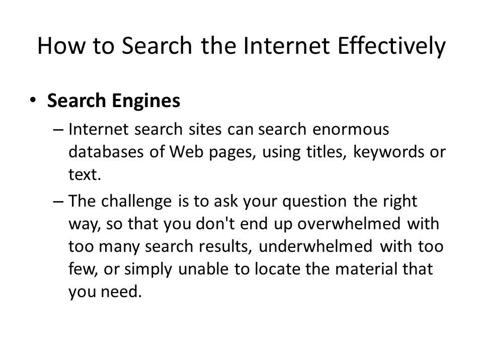 How to Search the Internet Effectively