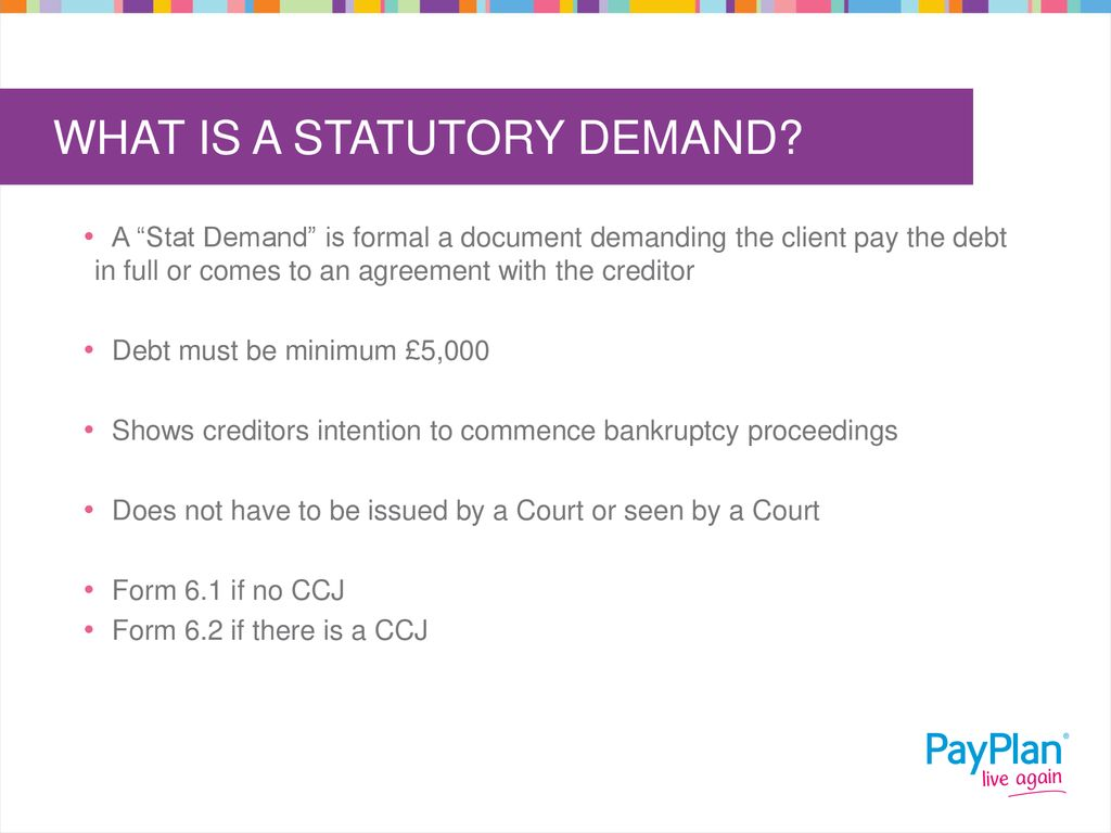 How To Pay A Ccj >> Statutory Demands Bankruptcy Ppt Download