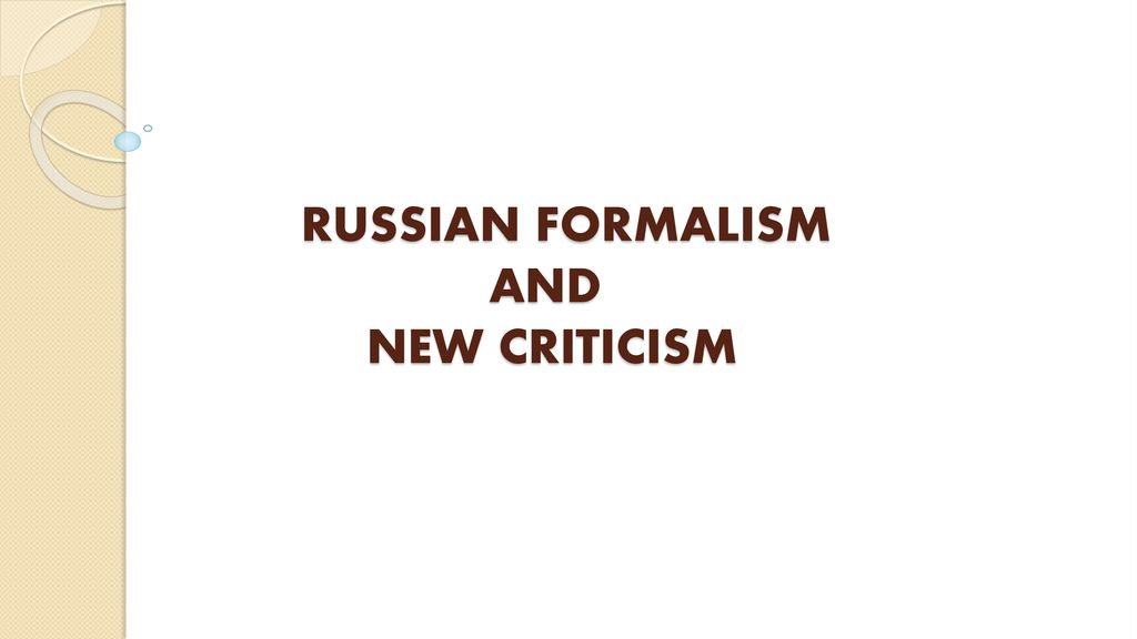 russian formalism and new criticism