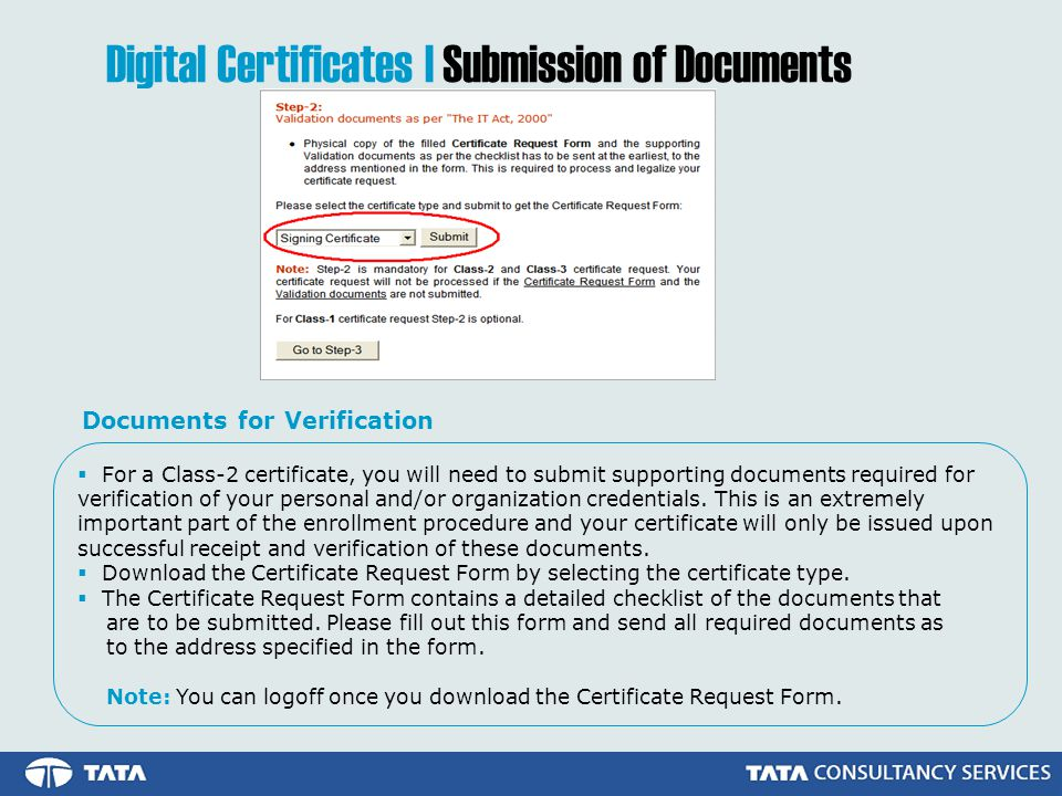 Digital Certificates | Submission of Documents