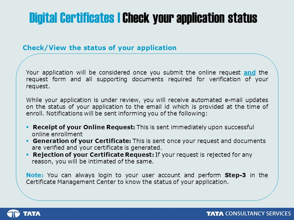 Digital Certificates | Check your application status