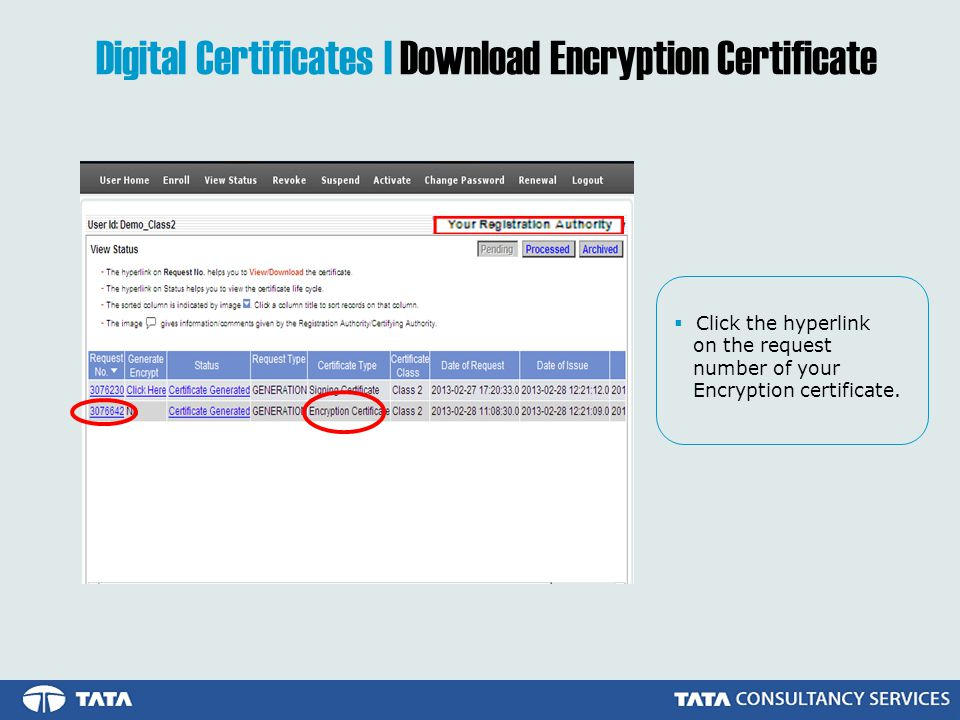 Digital Certificates | Download Encryption Certificate