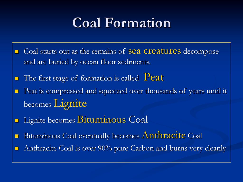 the first stage in the formation of coal is