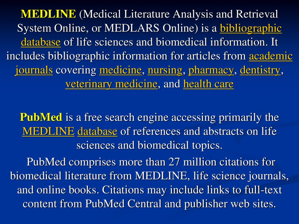 ONLINE LITERATURE SEARCH By Using MEDLINE PUBMED HINARI - ppt download