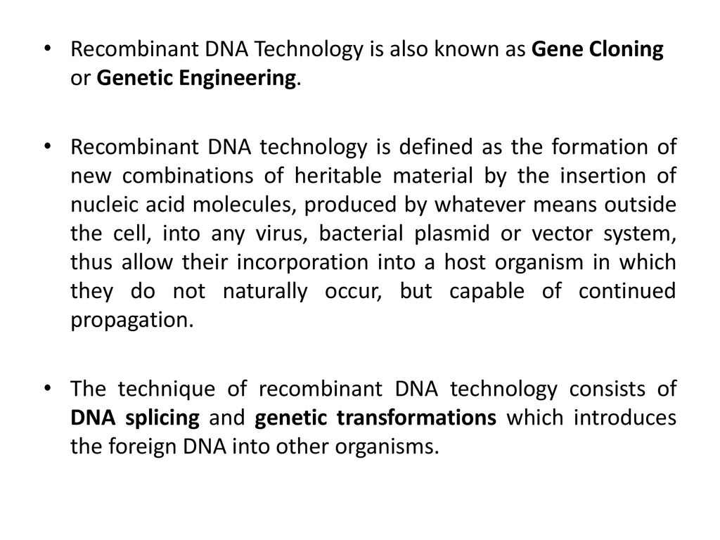 recombinant dna technology - ppt download