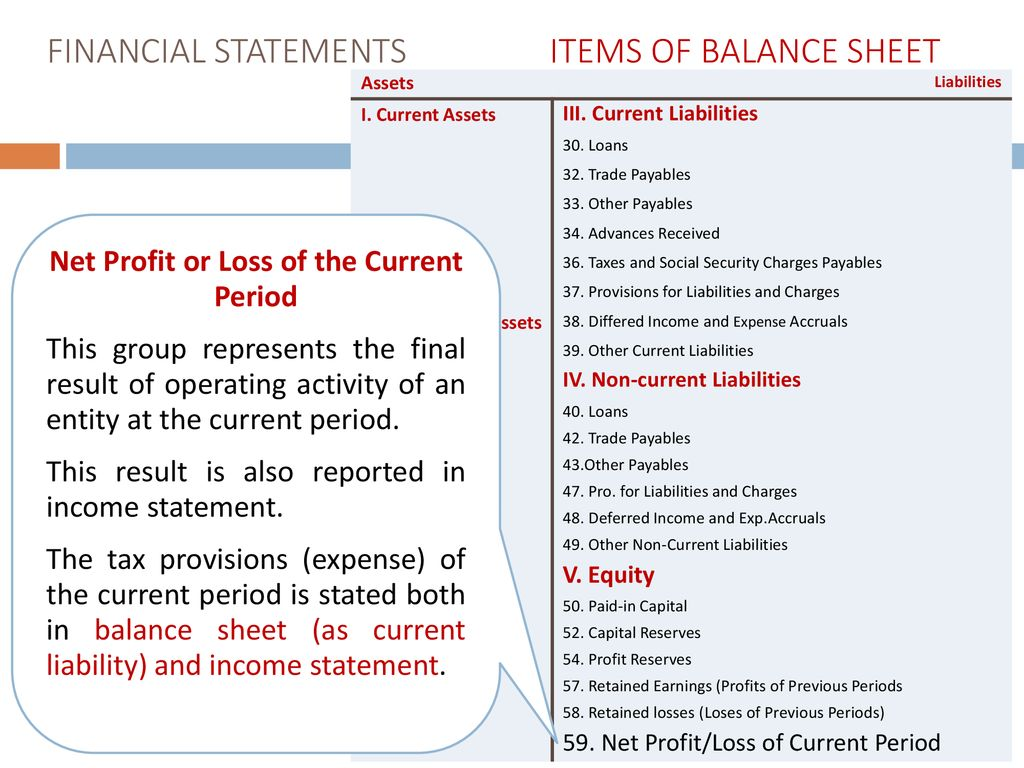 Balance sheet profit as the final result of the activity