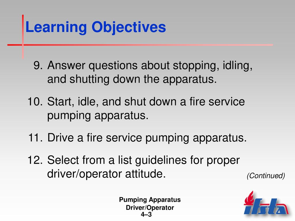 Pumping Apparatus Driver/Operator