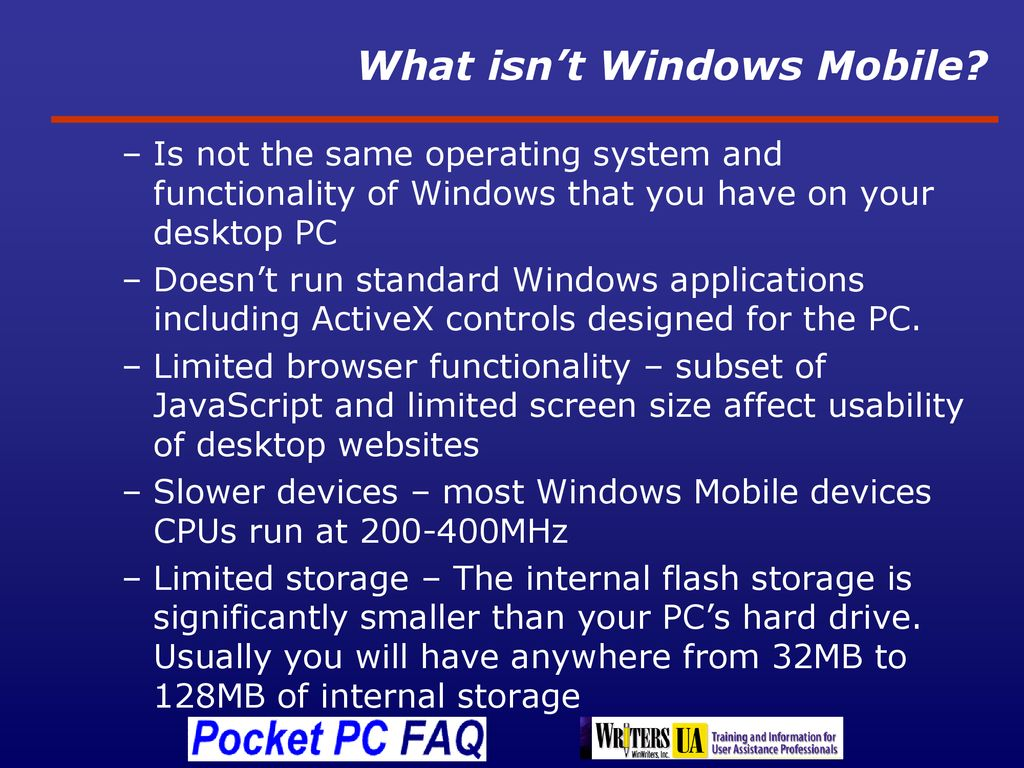Supporting Windows Mobile Devices - ppt download