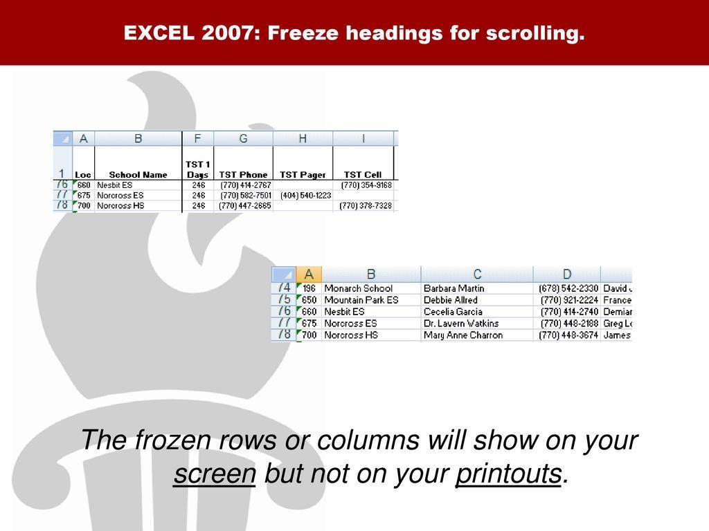 excel 2007 freeze row