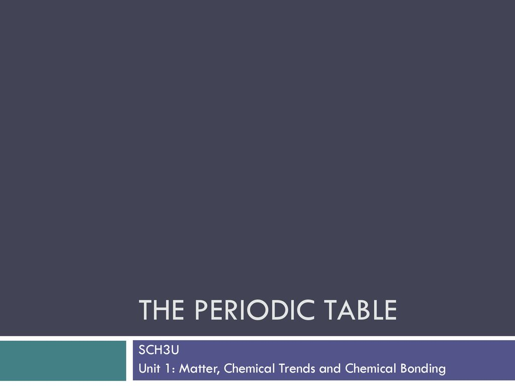 SCH3U Unit 1: Matter, Chemical Trends and Chemical Bonding