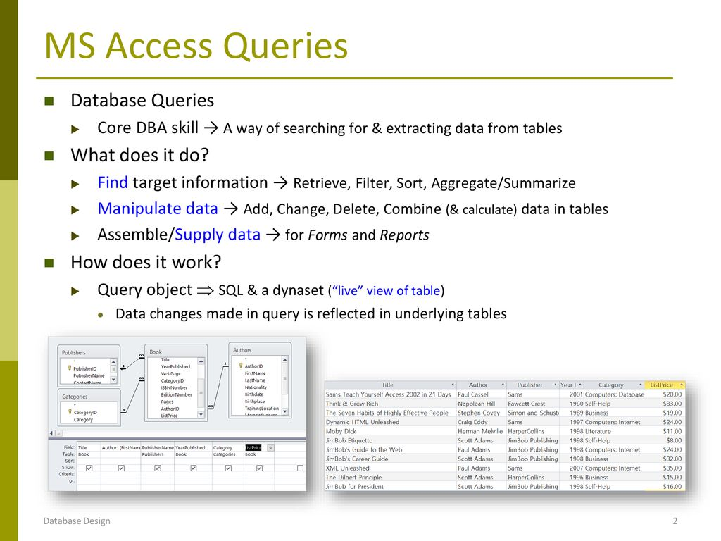 DB Implementation: MS Access Queries - ppt download