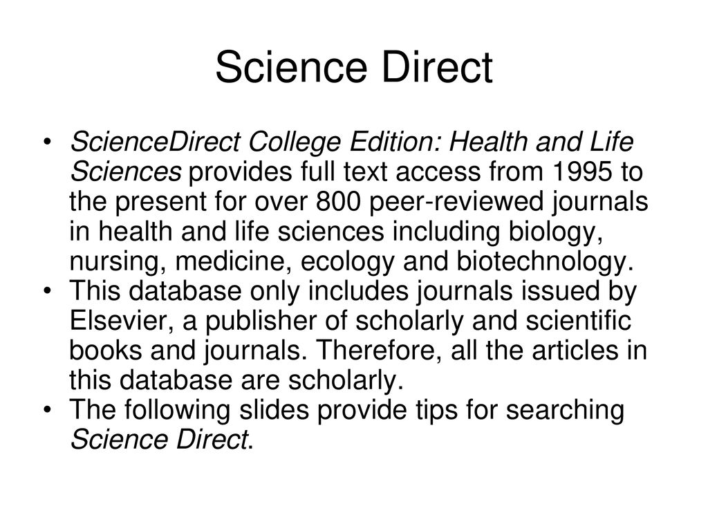 Sciencedirect college edition daynalwiki.