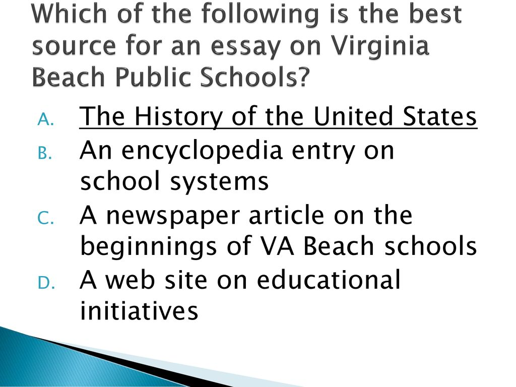 Sol Writing Review  Ppt Download Which Of The Following Is The Best Source For An Essay On Virginia Beach  Public Schools