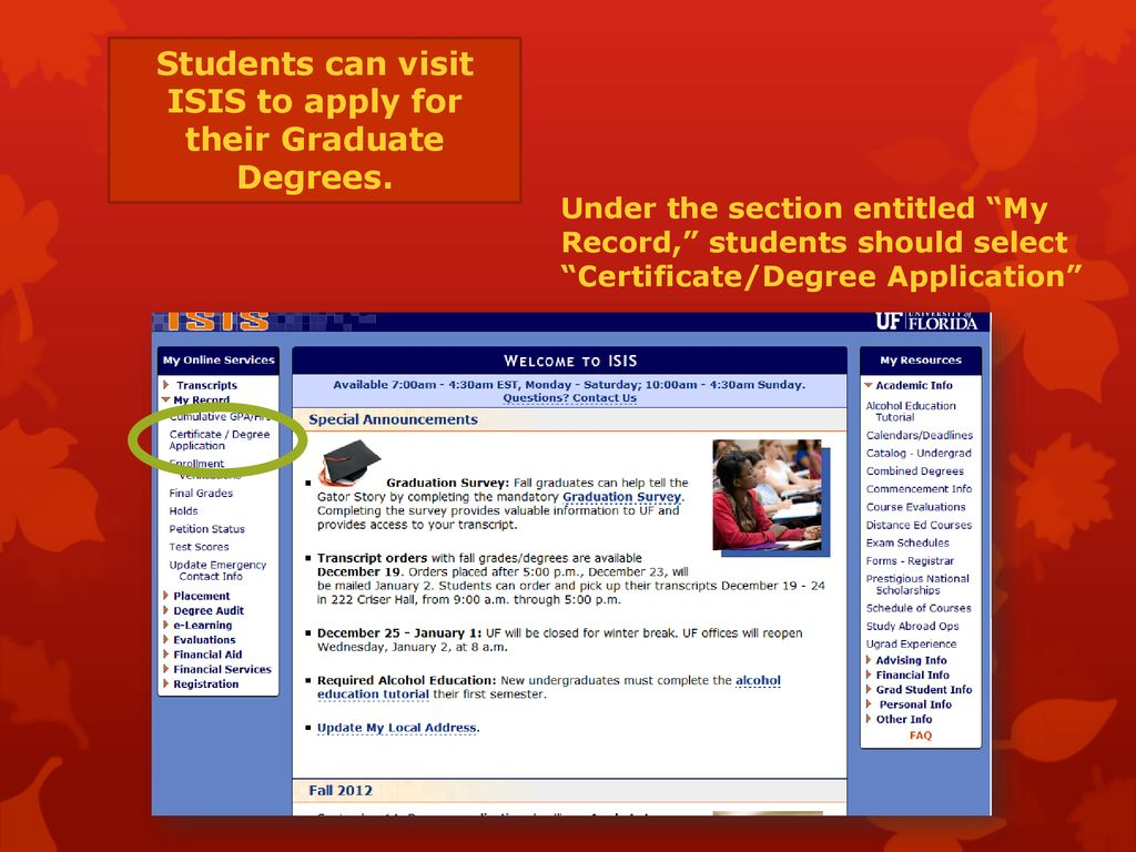 ISIS Graduation Application - ppt download