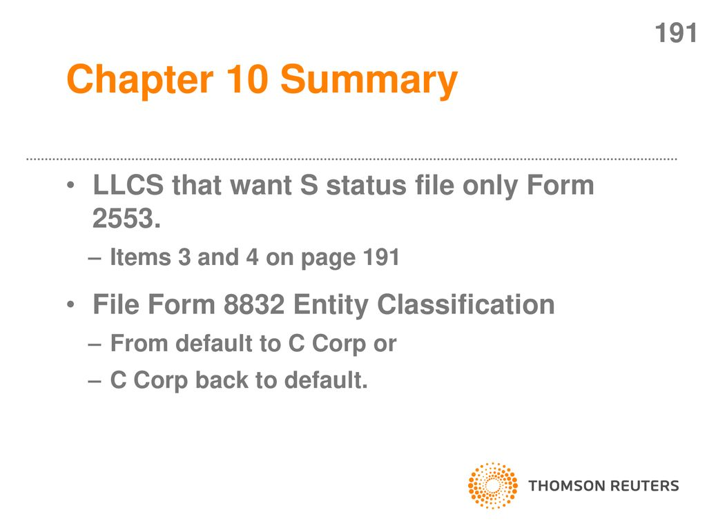 Form 2553 chapter 10 summary 175 must be a domestic corp. - ppt download
