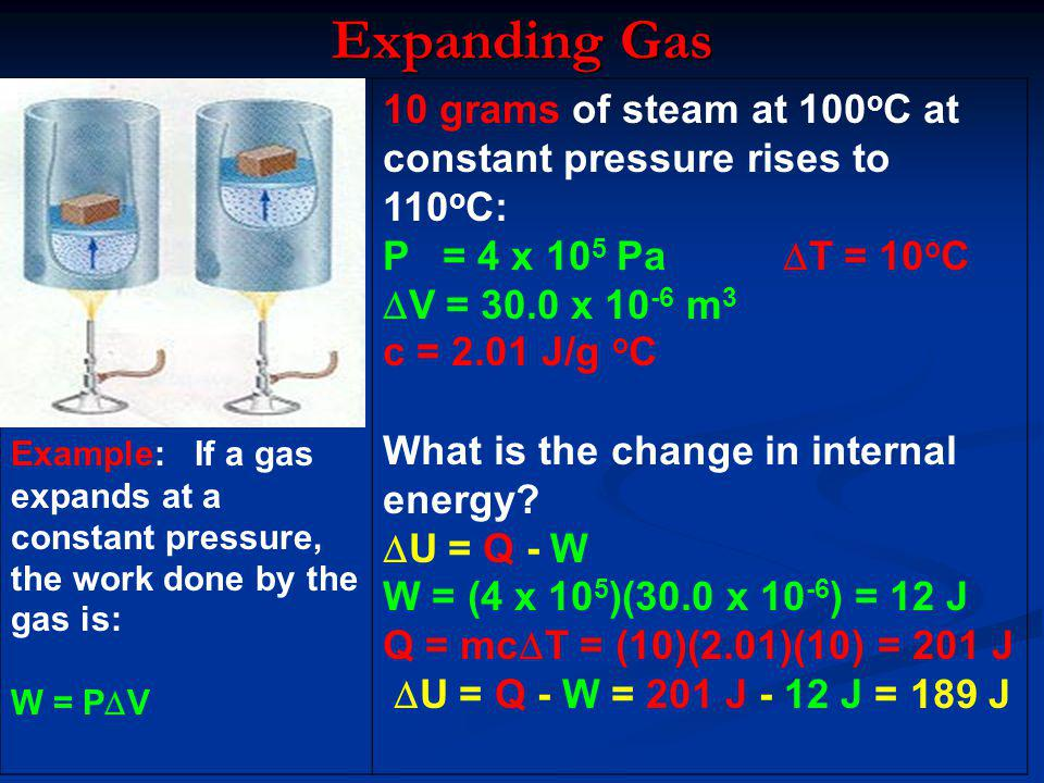 Expanding Gas Example: If a gas expands at a constant pressure, the work done by the gas is: