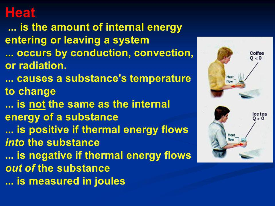 Heat. is the amount of internal energy entering or leaving a system